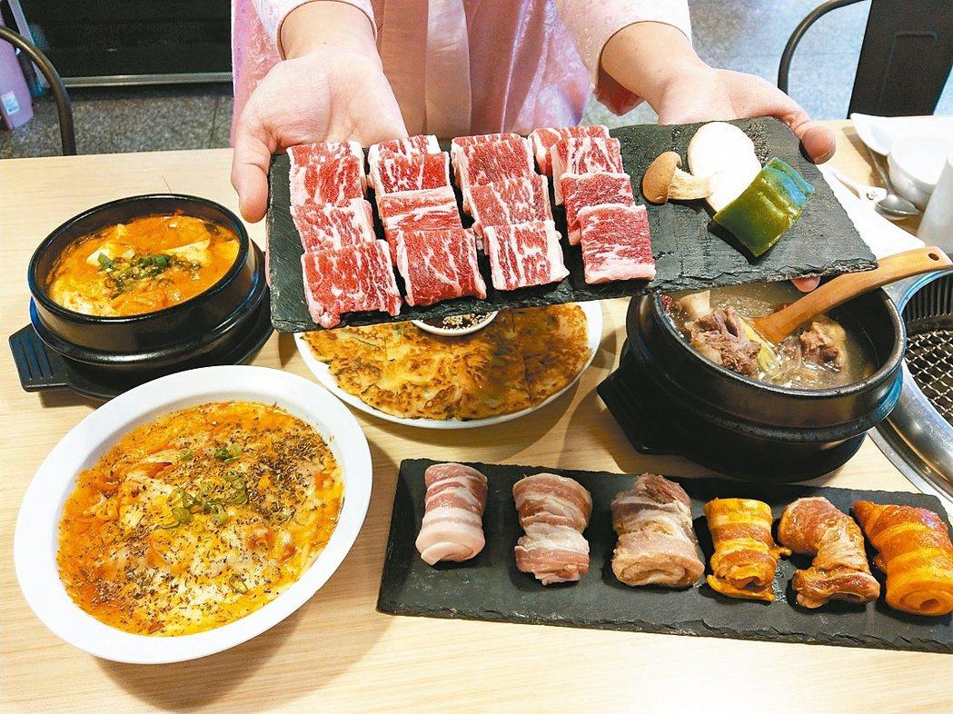 銅房韓式烤肉餐廳提供極黑牛小排、六色五花肉等烤肉,肉質很不錯。 記者戴永華/攝影