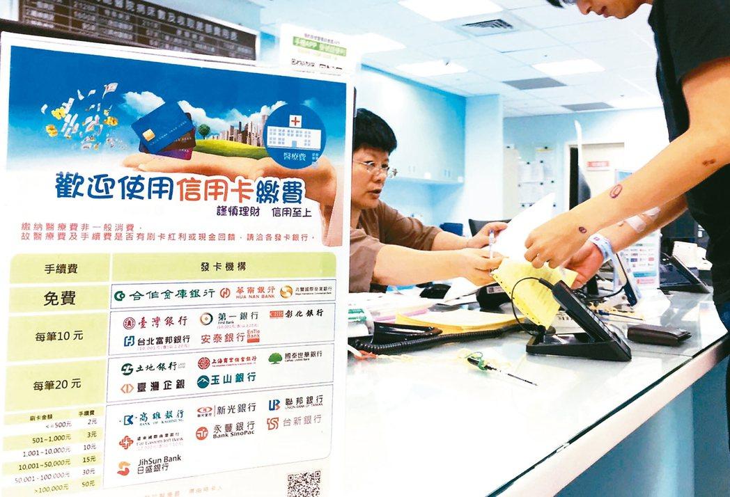 公立醫院刷卡,銀行收手續費?公立醫院目前可收31家銀行信用卡,有9家銀行「一毛錢...