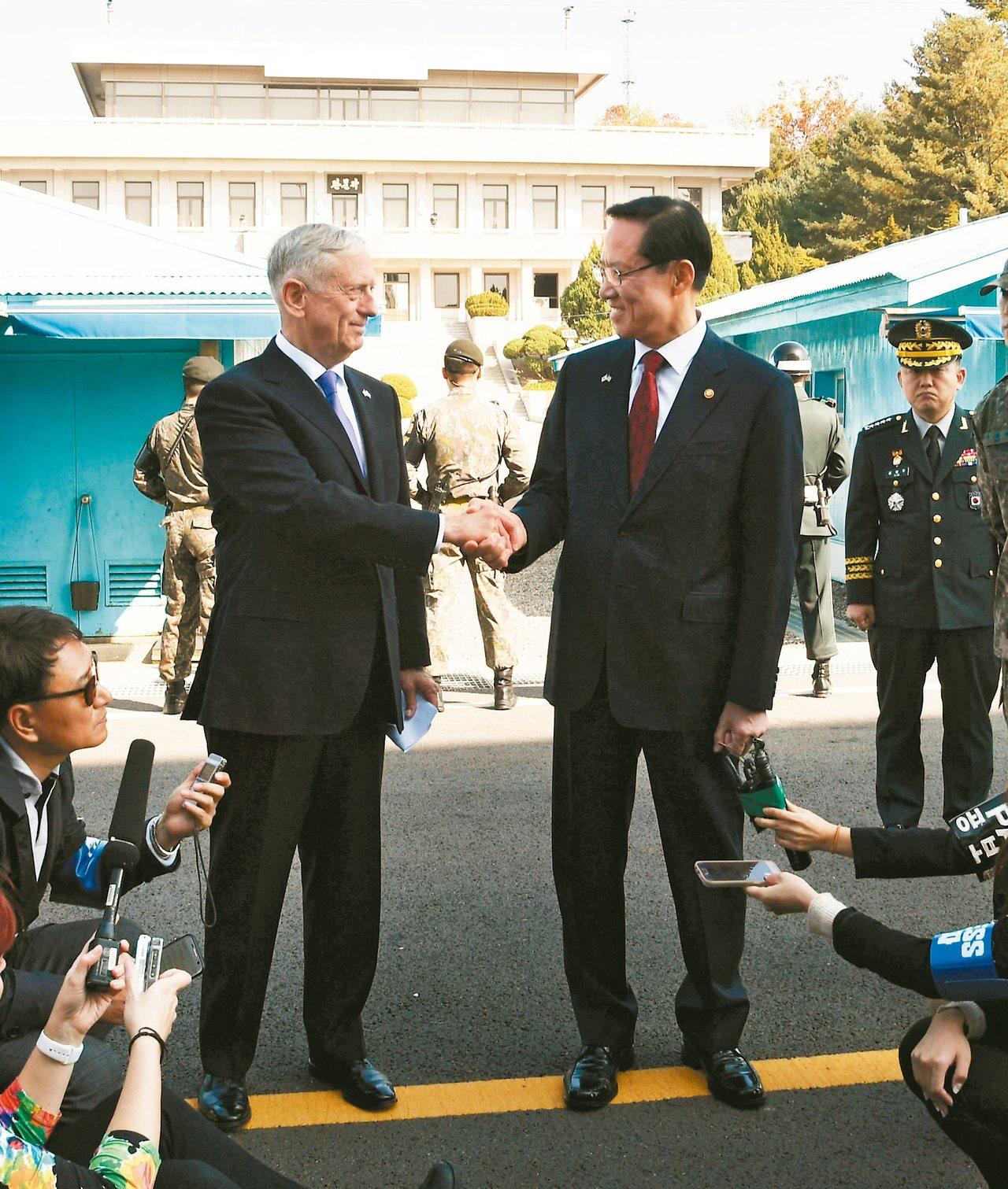 南韓國防部長宋永武(右)廿七日帶領美國國防部長馬提斯參觀板門店。 路透