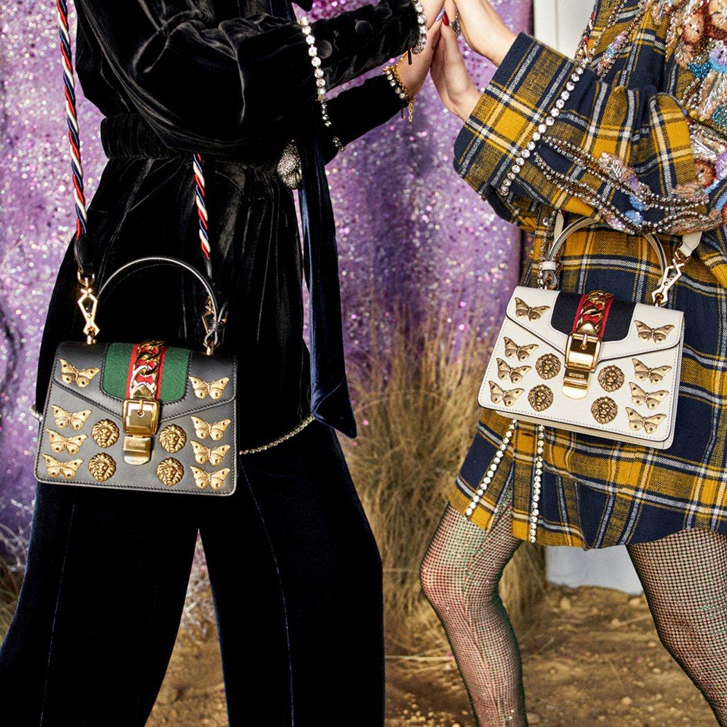 Sylvie 昆蟲裝飾肩背包,各10萬7,600元。圖/古馳提供