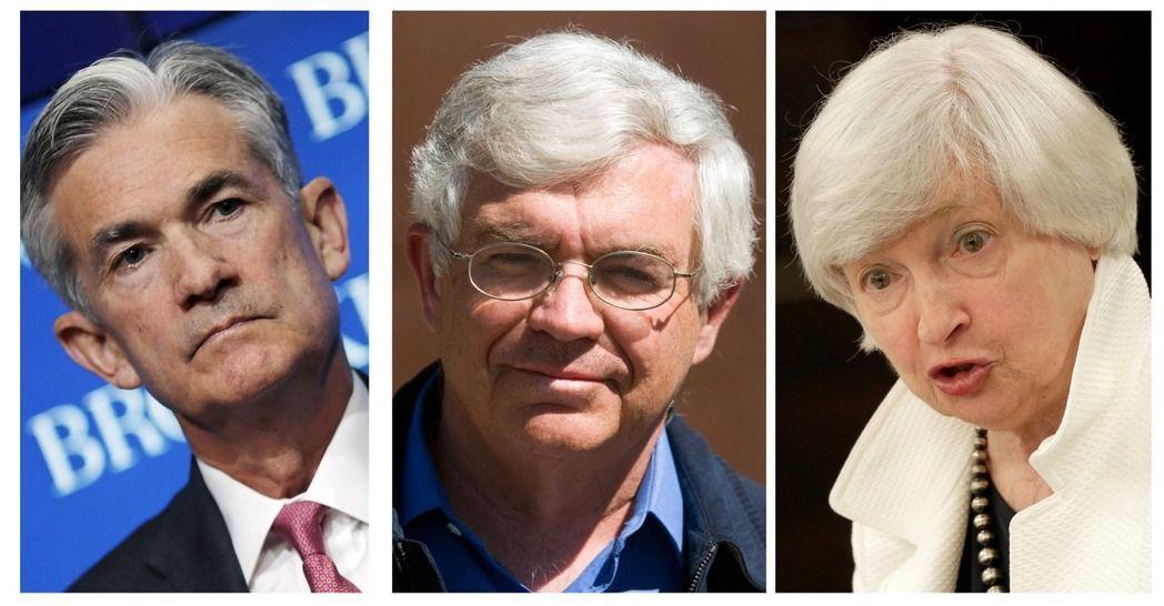 聯準會理事鮑威爾(左)、史丹福大學教授泰勒(中)和現任聯準會主席葉倫(右)。(路...