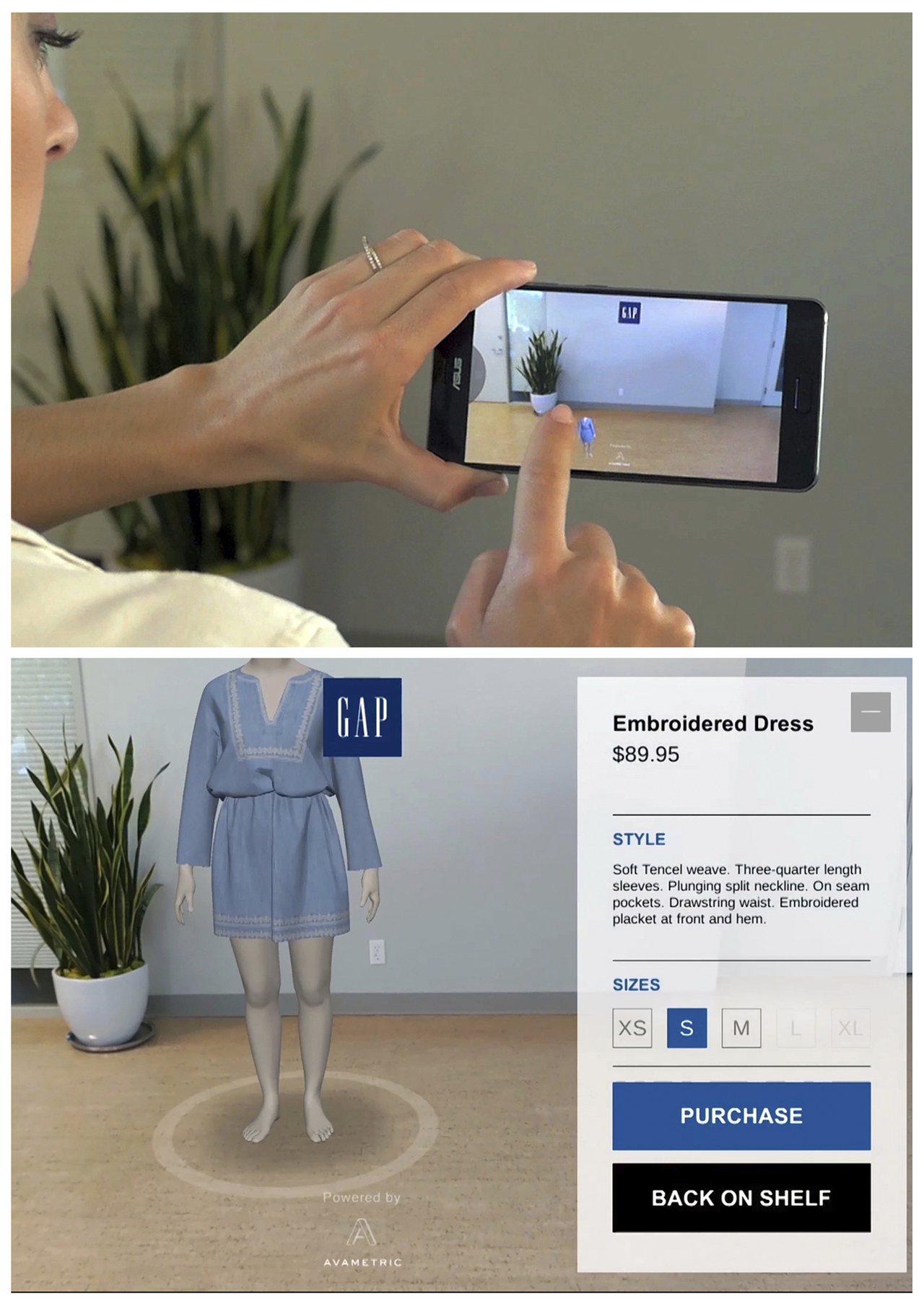Gap公司的擴增實境app,讓買家能虛擬試穿。買家只需輸入身高、體重等基本資料,...