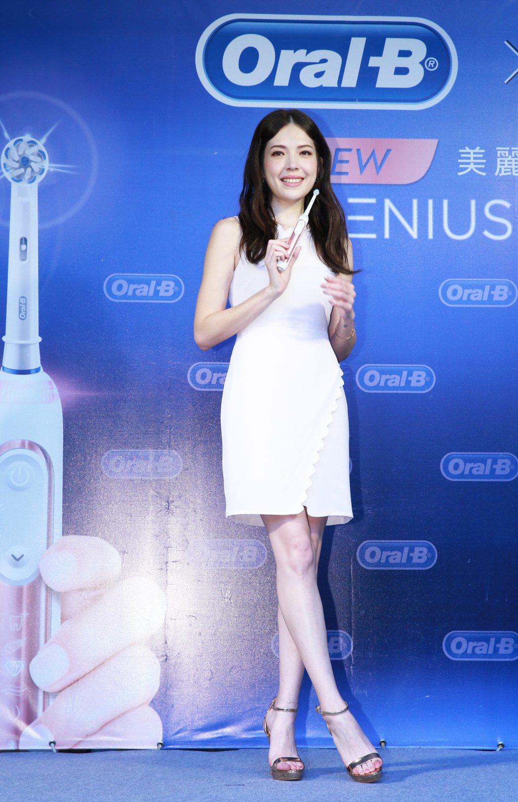 許瑋甯出席Oral-B玫瑰金電動牙刷代言記者會。記者徐兆玄/攝影