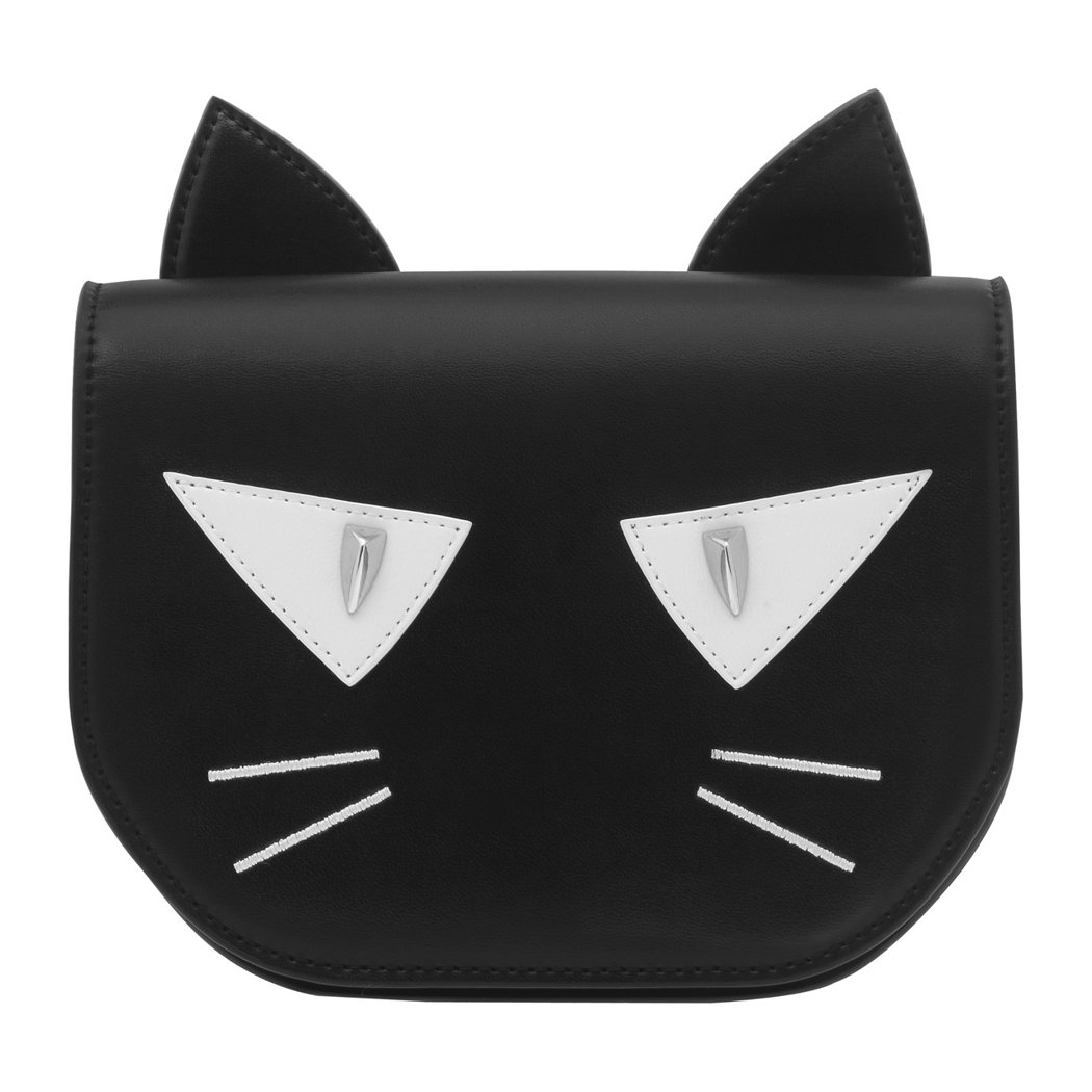 CHARLES & KEITH萬聖節飾釘貓臉吊袋包,售價1,690元。圖/CHA...