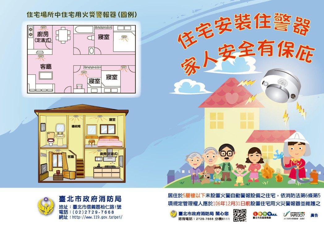 台北市消防局8年前就開始推廣民眾設置住警器。 記者廖炳棋/翻攝台北市消防局官網