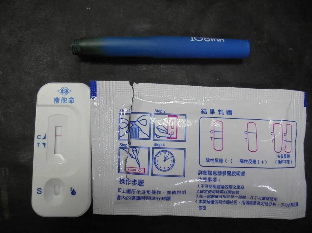 警方對彭男進行毒品反應檢驗呈現陽性。圖/警方提供