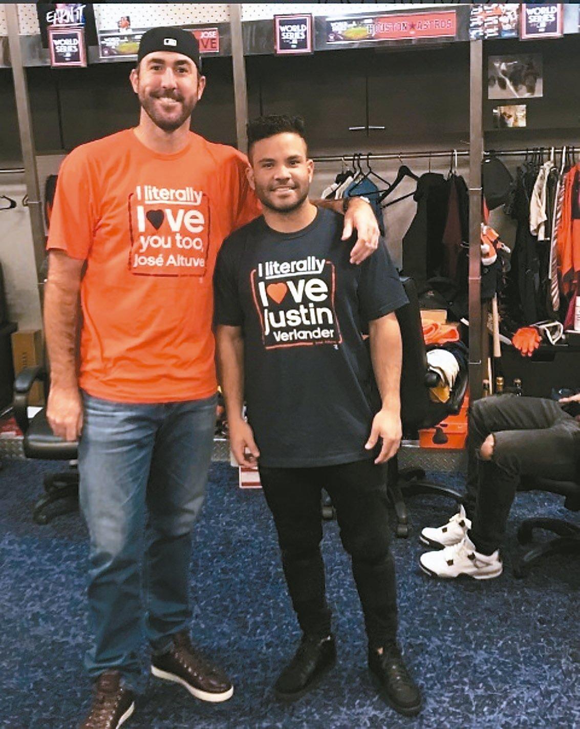韋蘭德與亞土維穿上特製T恤,表達對彼此的喜愛。 圖/取自亞土維Instagram