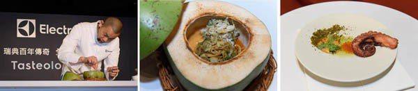 近期所倡導的食育,與江主廚力行選用台灣在地食材的觀念一致。現場示範的「叻沙秋蟹天...
