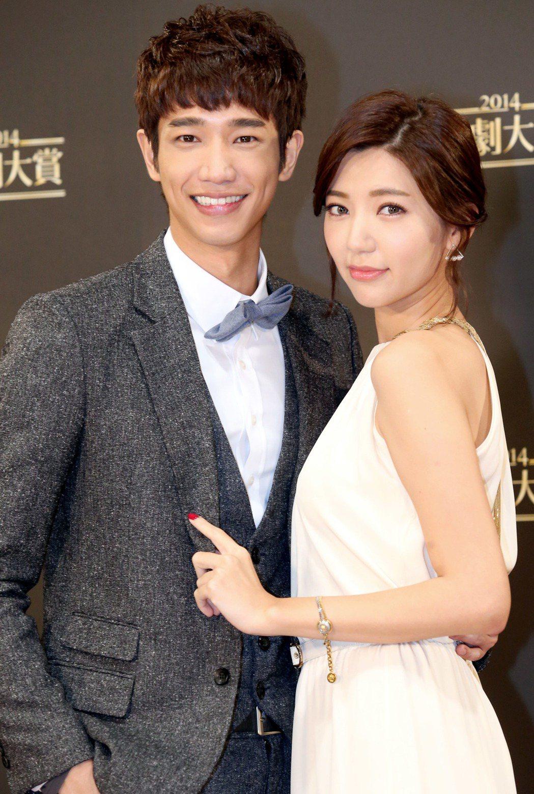 三立「2014華劇大賞」,劉以豪(左)與郭雪芙(右)獲得最佳接吻獎。圖/聯合報系...