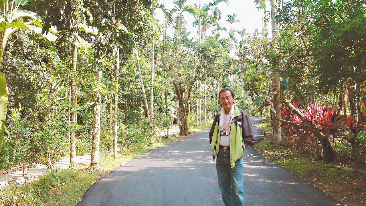 在外打拚多年,商催武退休後返鄉將自家1甲半農園整理成社區公園,開放社區使用。 記...
