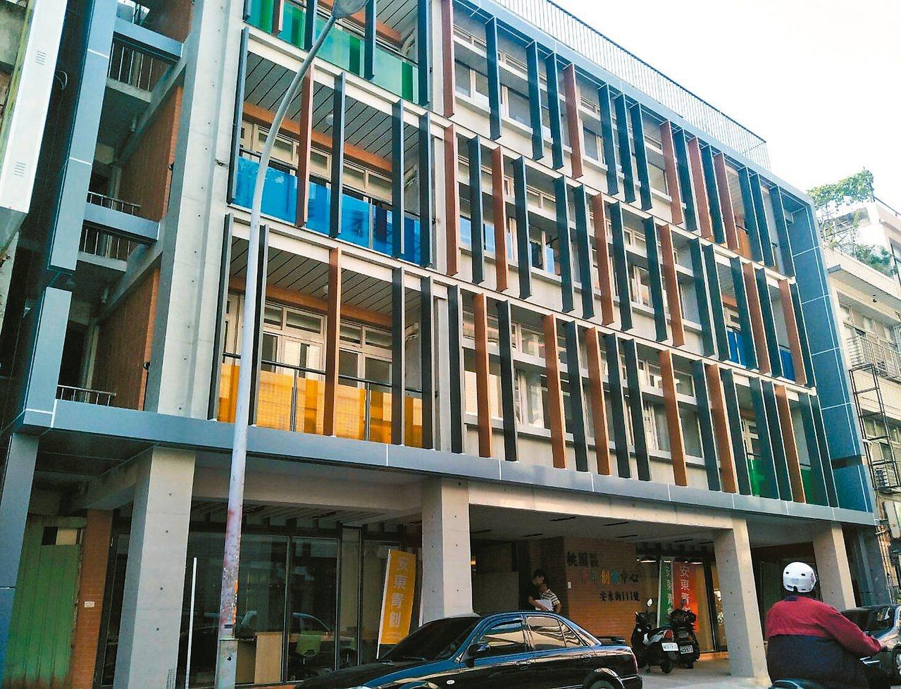 桃園市府第一個打造完成的亞洲.矽谷計畫安東青創基地,內部設計走簡易風,外觀硬體現...
