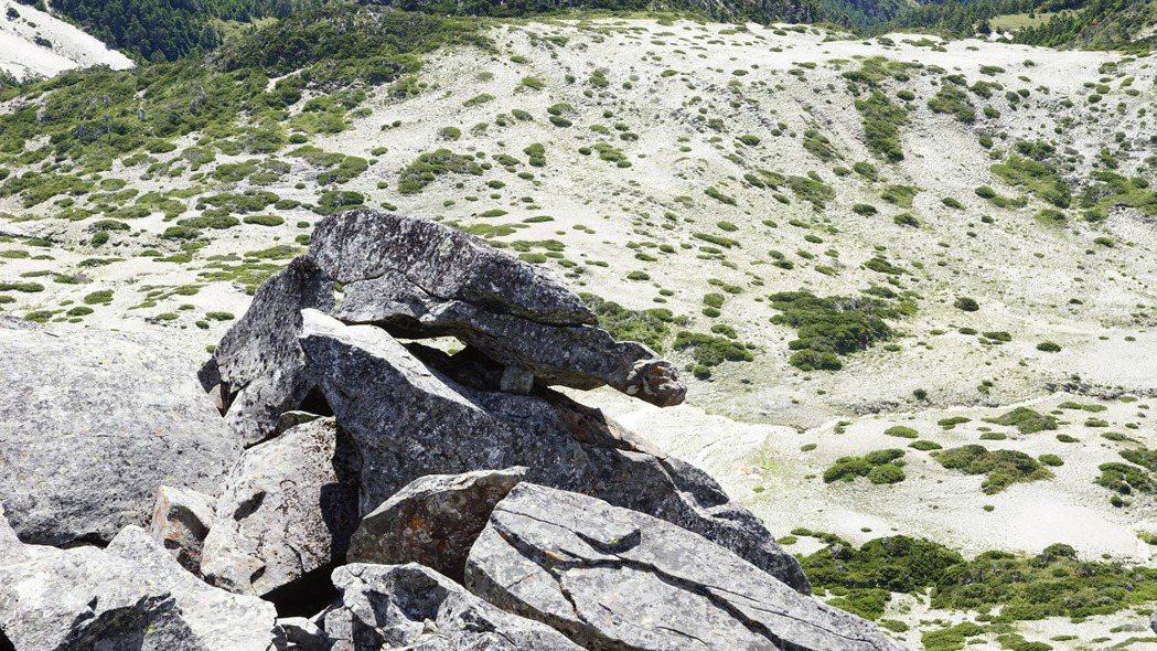 主峰前的天然石龜,左青龍、右玄武護衛著帝王頭,風水堪稱一絕。記者邱德祥/攝影