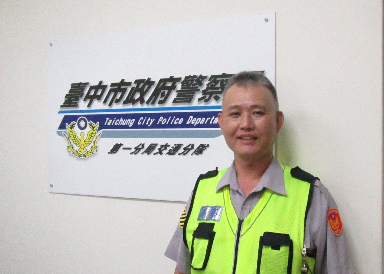 台中市警局交通隊員謝旻翰獲得全國金安獎,明天北上受獎。圖/警方提供
