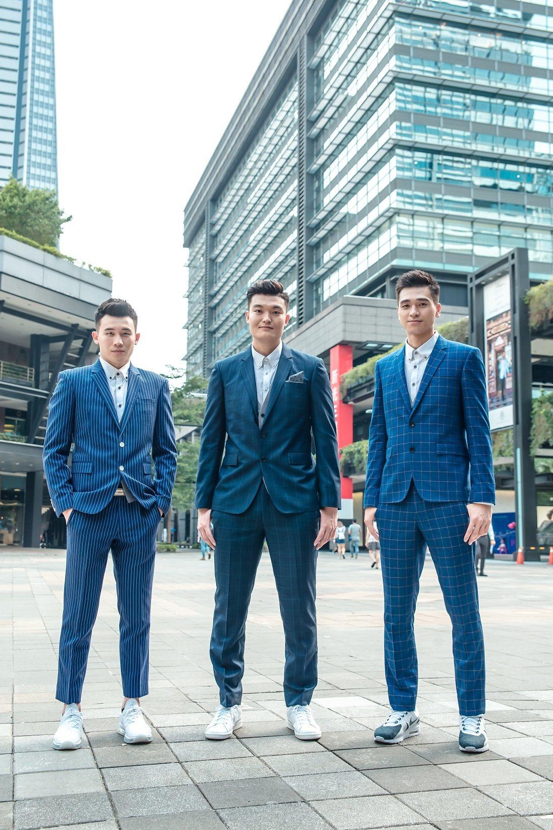 李愷諺(左起)、蘇奕晉、黃聰翰難得以西裝裝扮公開亮相。圖/引爆運動訓練EMPOW...