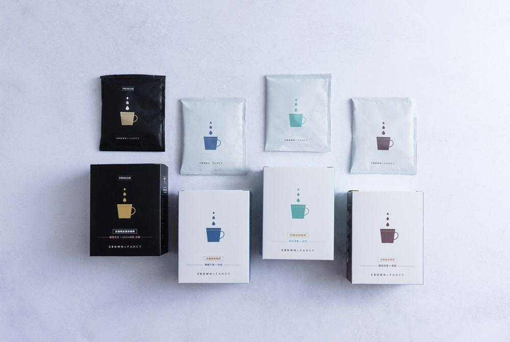 金鑛咖啡濾掛上市,推出四款主打精品級咖啡豆,淺中深烘焙,滿足不同需求的消費者。圖...