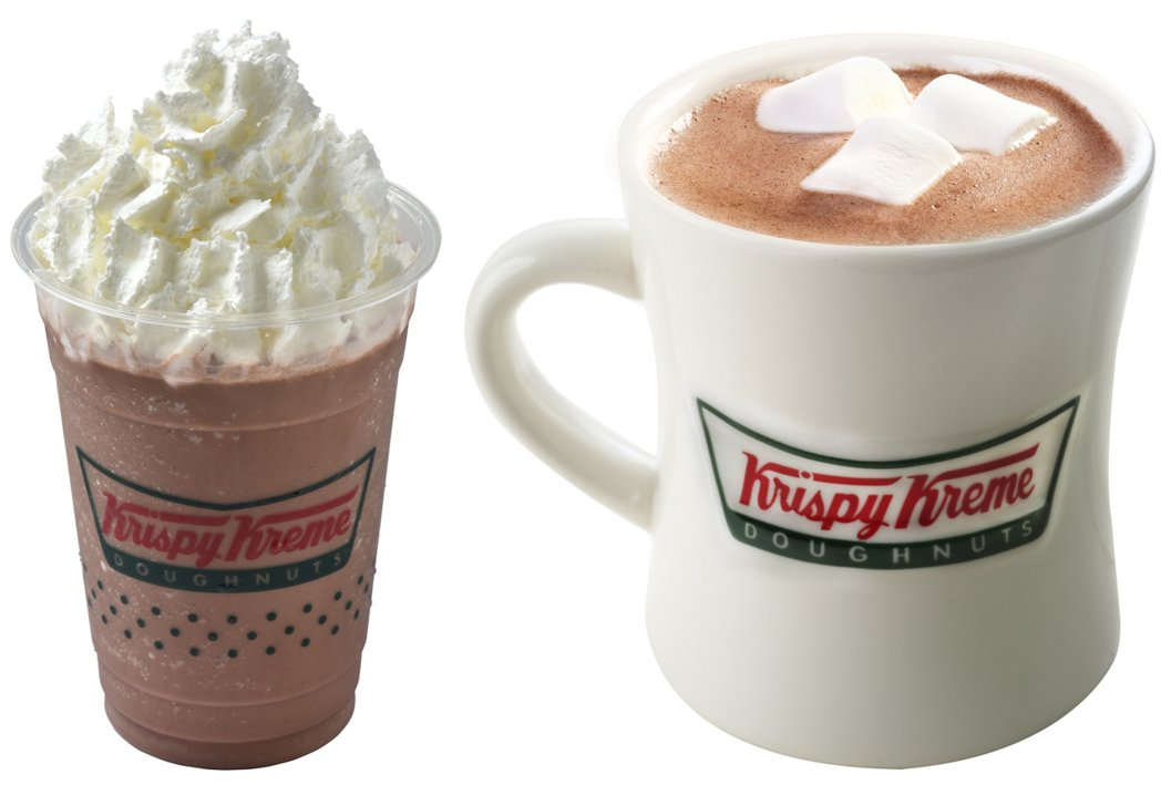 巧克力茶霜(左)、經典巧克力(右),售價125元。圖/KrispyKreme提...