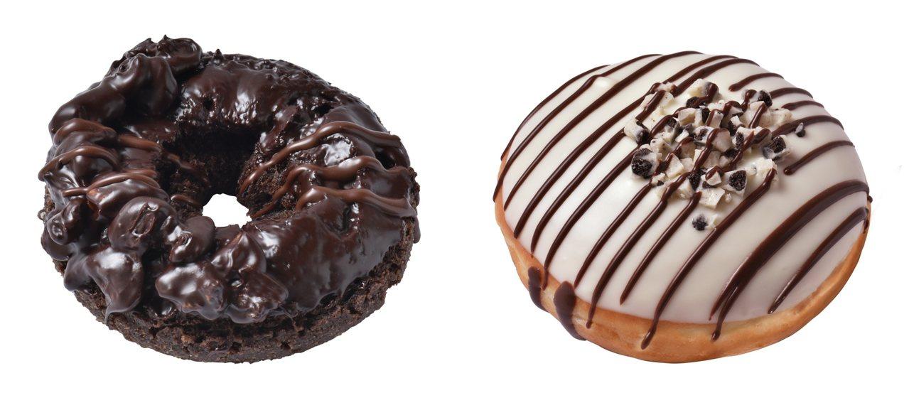 核桃巧克力蛋糕甜甜圈(左)、白巧克力碎片夾心貝甜甜圈(右),售價50元。圖/Kr...