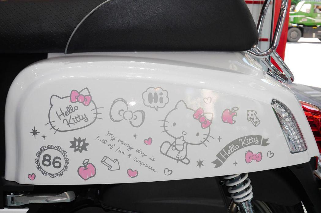 PGO J-bubu 油冷115Hello Kitty聯名版車色可以看到塗鴉風的Hello Kitty圖案。記者林昱丞/攝影