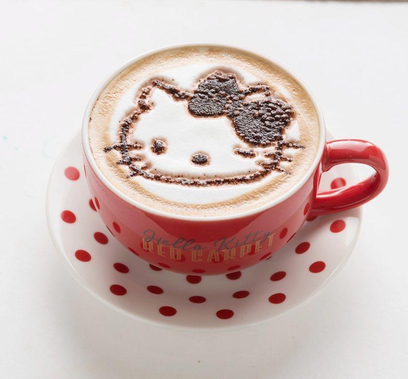 拿鐵咖啡180元/以特別訂製的點點風餐具盛裝,時尚度破表;於表面灑上Hello ...