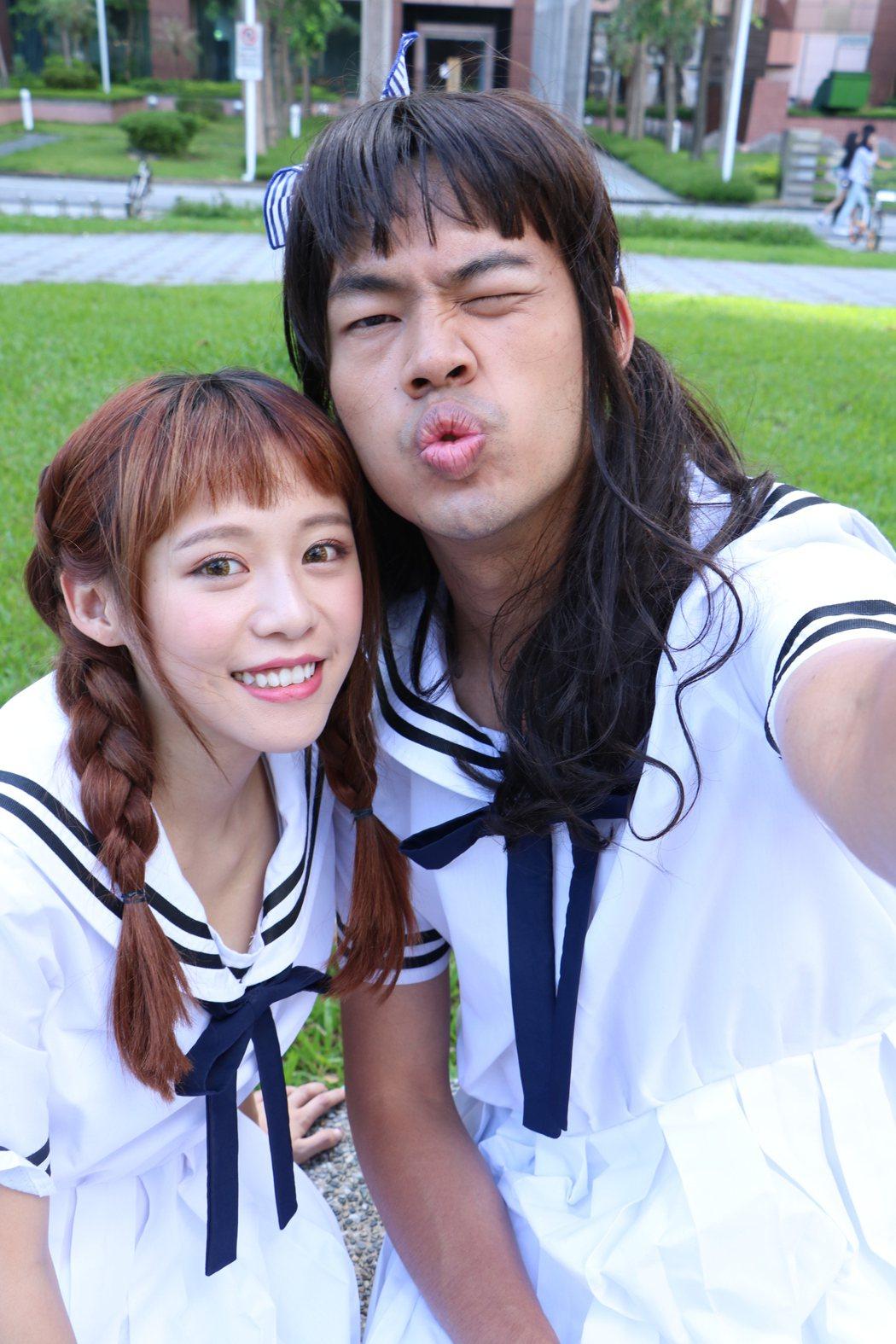 陳大天(右)與「中學生女神」紀卜心飾演好閨密。圖/鑫盛傳媒提供