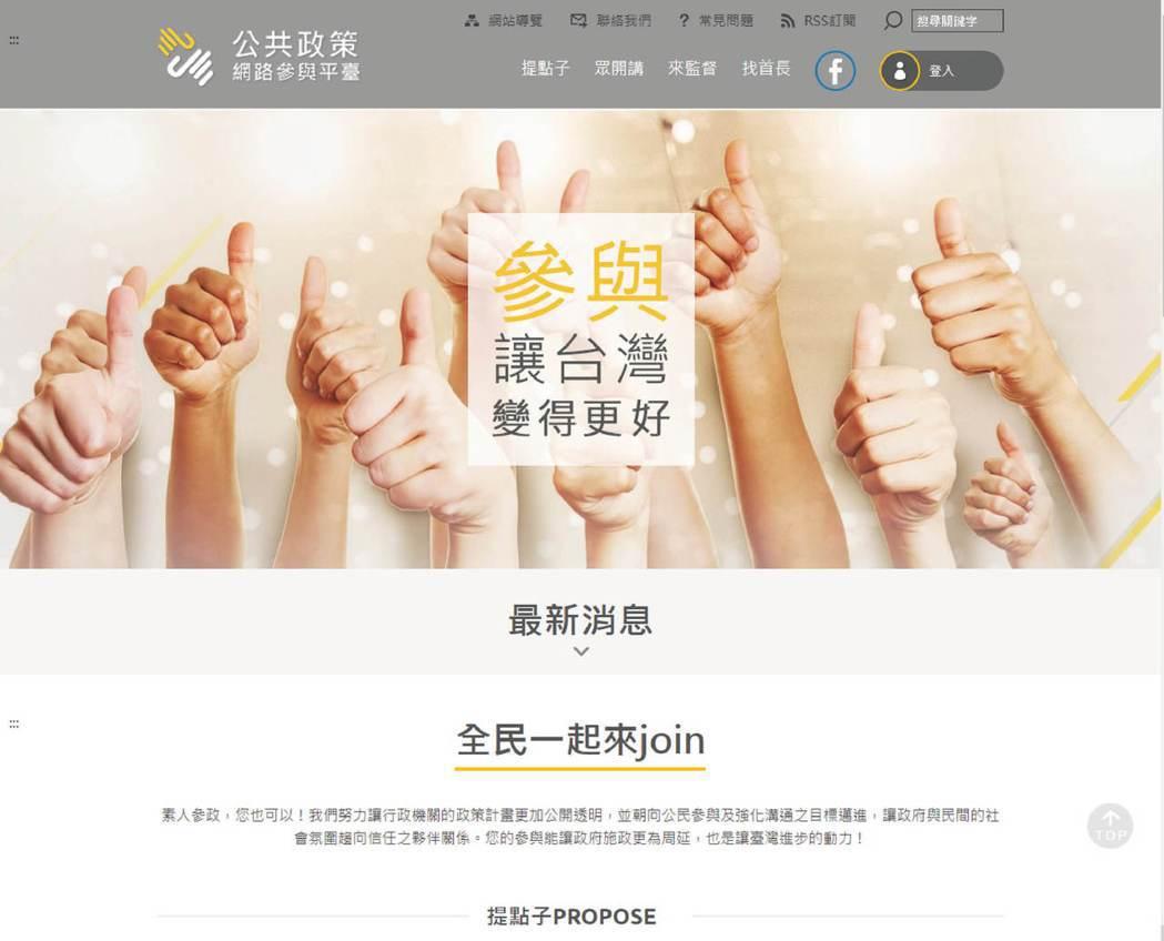 2015年成立至今的國發會提點子公共政策網路參與平台。 圖/取自國發會網站