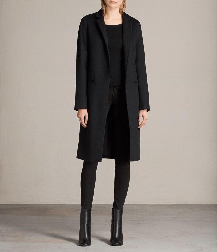 Nehru黑色大衣,定價22700。圖/AllSaints提供