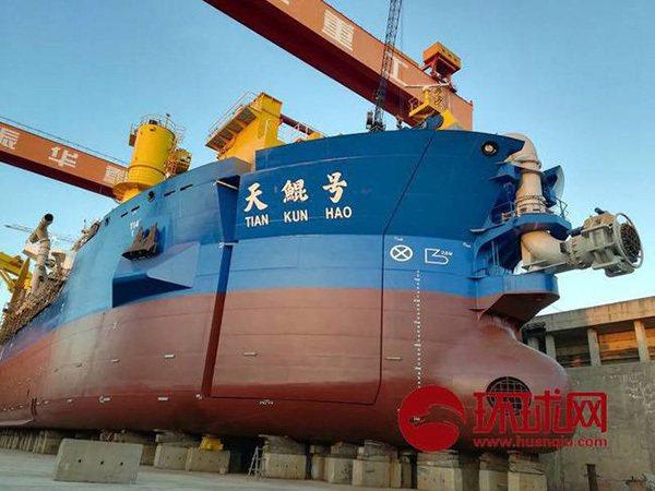 大陸南海造島又一利器,亞洲最大的造島神器「天鯤」號將於今日下水。 圖/摘自環球網
