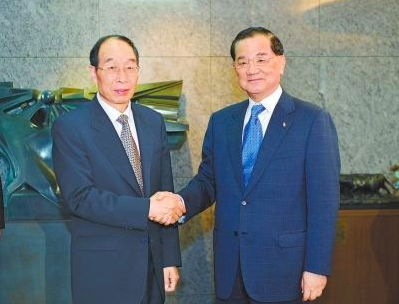 2014年七月九日,時任福建省委書記尤權訪問台灣時,和國民黨榮譽主席連戰會晤。(...