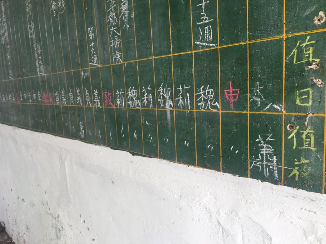 台南左鎮國小26年前大黑板行事曆的值日及值夜表,上面的老師已有3人不在了。記者吳...