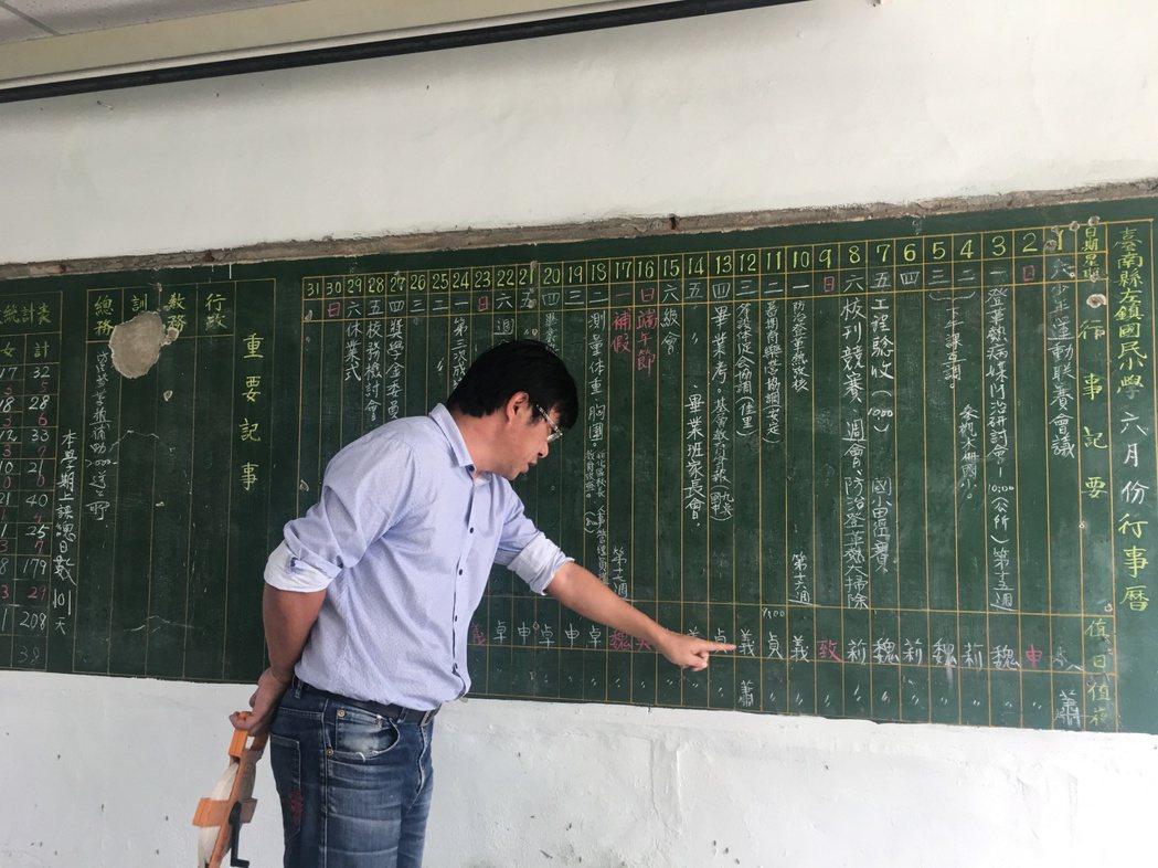 台南左鎮國小校舍改建時,意外發現26年前大黑板行事曆,粉筆字歷歷如新,校長李智賢...