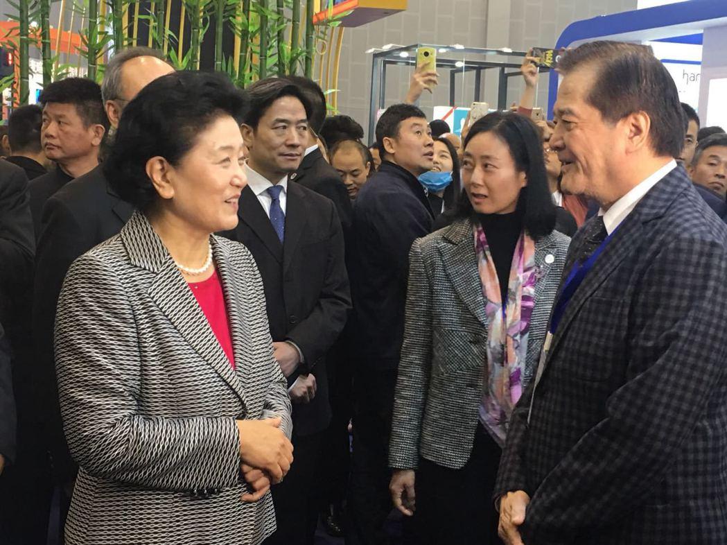 中國國務院副總理劉延東(左)出席「四川電視節」特別前往台灣舘和中華廣播電視節目製