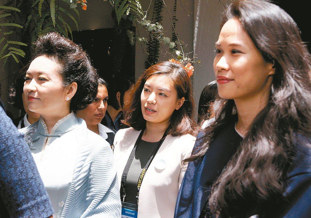 宋鎮邁(右)陪同父親宋楚瑜出席APEC,和各國領袖代表夫人及眷屬參觀拉爾哥博物館...