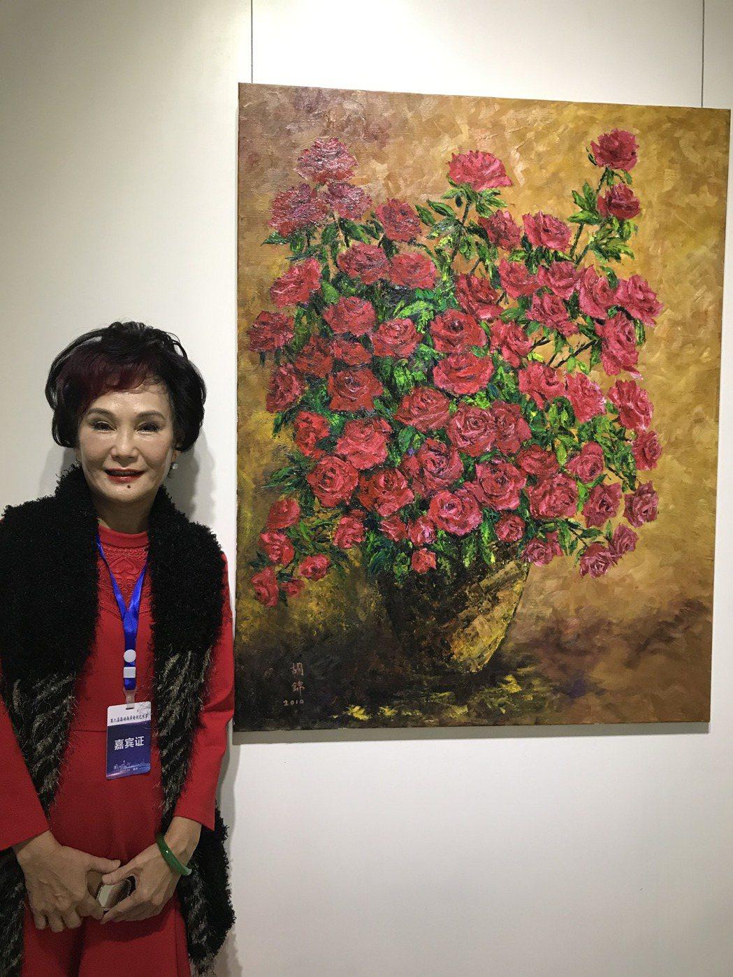 胡錦出席重慶兩岸電視節書畫展,氣色不錯。記者楊起鳳/攝影