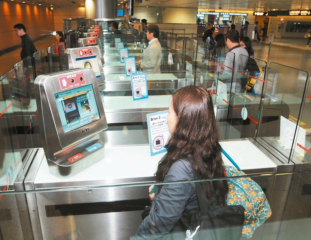 桃園機場的自助通關採用人臉辨識,大幅加速通關速度。 報系資料照