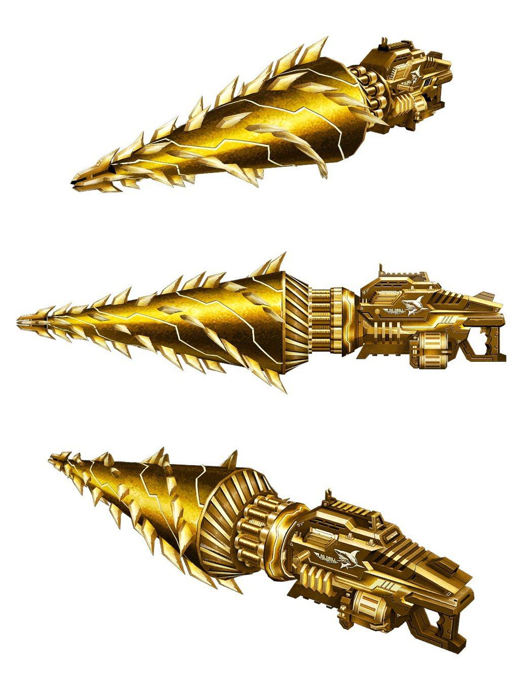 王牌武器「黃金螺旋牙」擁有亮麗黃金塗裝與近戰擊退能力。