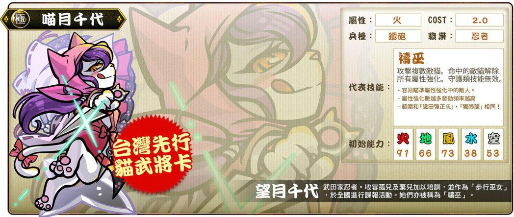 ▲超前日本搶先推出的台灣先行貓武將稀卡「喵月千代」代表技能「禱巫」。