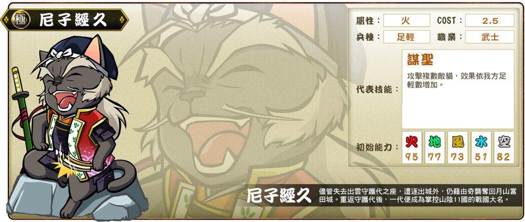 ▲極卡「尼子經喵」代表技能「謀聖」。