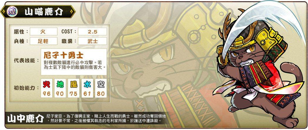 ▲煌卡「山喵鹿介」代表技能「尼子十勇士」。