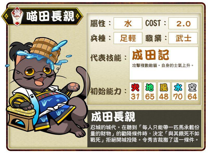 ▲譽卡「喵田長親」代表技能「成田記」。
