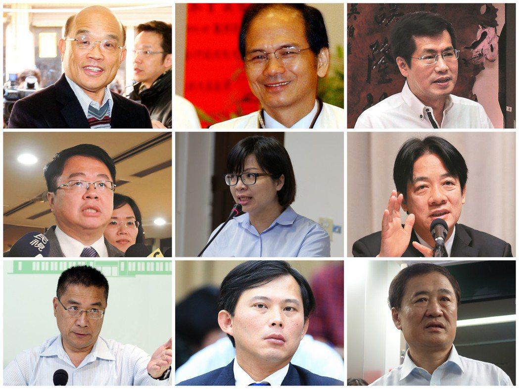 左上至右下:蘇貞昌、游錫堃、羅致政、吳秉叡、林淑芬、賴清德、徐國勇、黃國昌、陳景...
