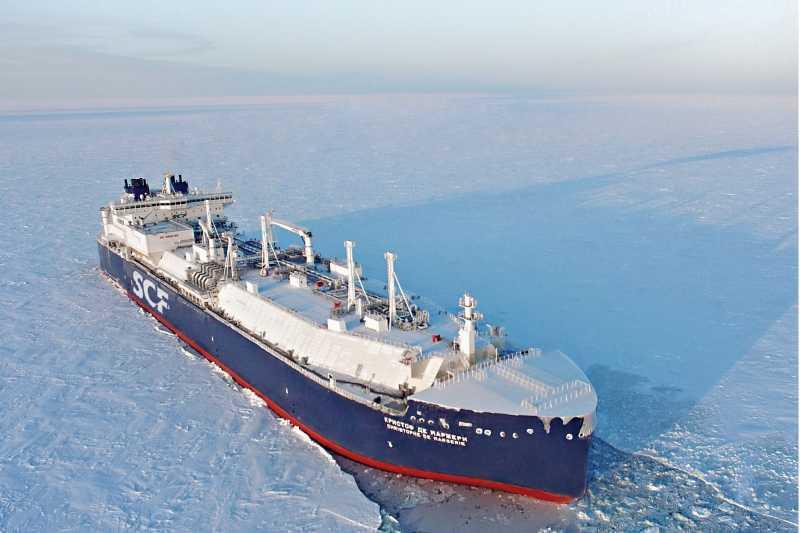 俄羅斯油輪「馬哲睿號」在北極海航行。 圖/取自網路