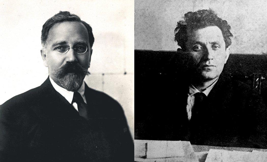 〈十月的教訓〉中,列夫‧加米涅夫(左)和格利高里‧季諾維耶夫(右)被批評在革命中...