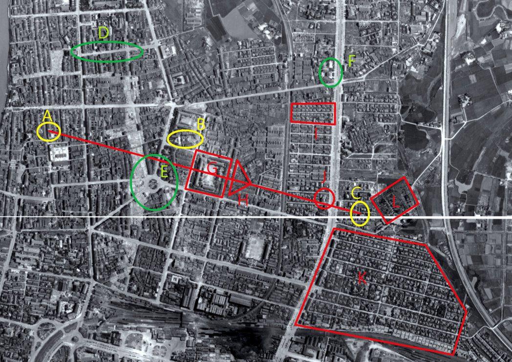 中研院1945年美軍航照圖,可看見大稻埕乾元行與陳茂通宅的空間關係。 圖/作者提...