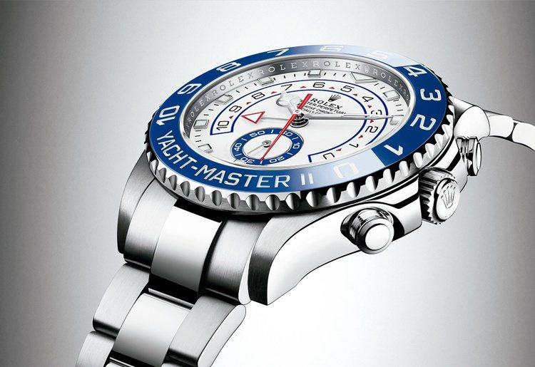 實心鏈節保險扣錶帶:Yacht-Master II 搭配實心鏈節蠔式錶帶,錶帶配...