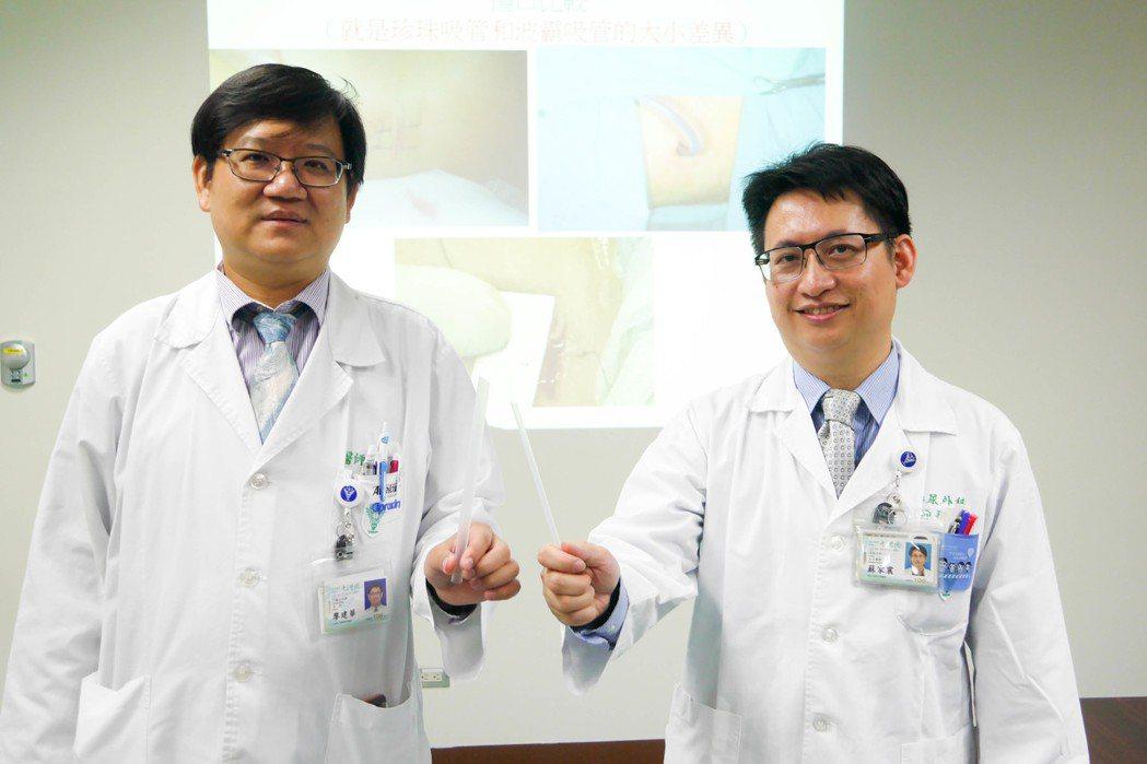 奇美醫學中心一般泌尿科主任廖建華(左)、泌尿外科主治醫師蘇家震(右)表示,微創精...