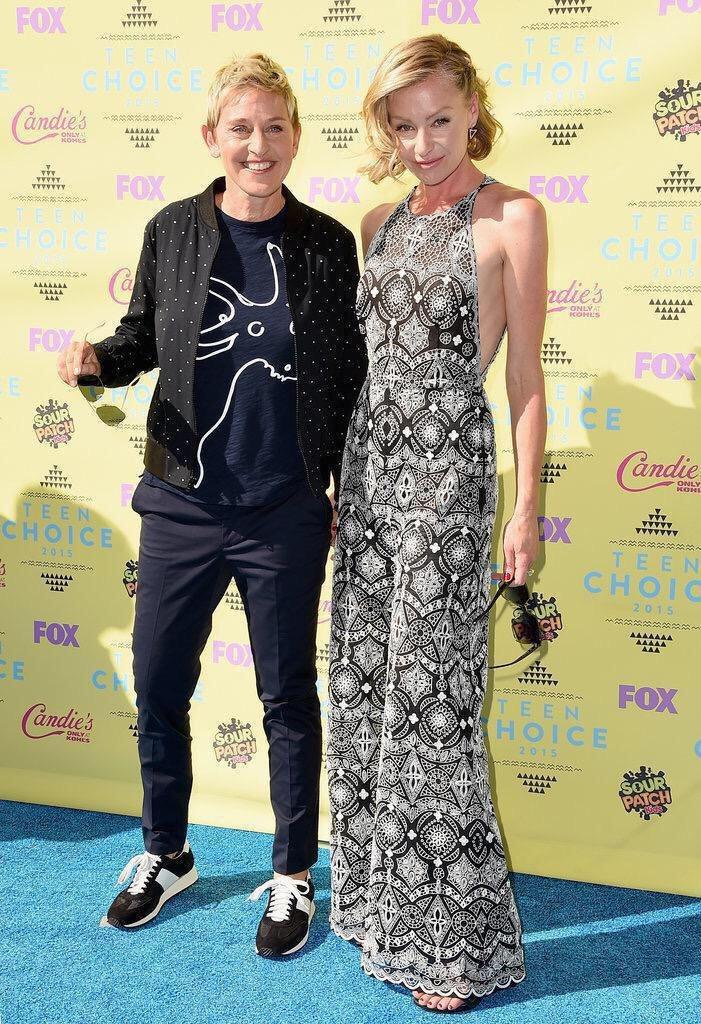 艾倫狄珍妮絲與波霞狄羅西是好萊塢著名的同性伴侶。圖/摘自twitter