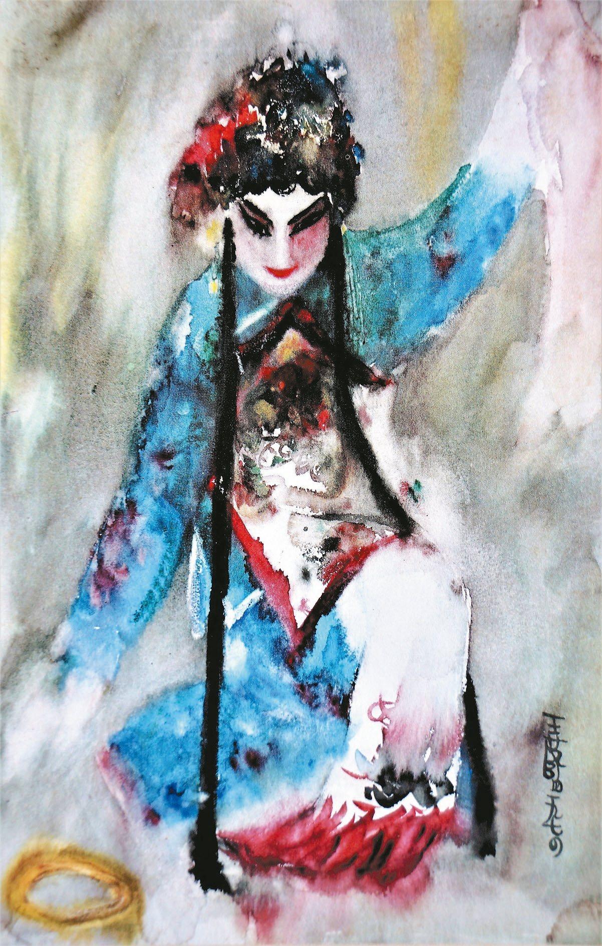 王藍水彩名作〈拾玉鐲〉,把花旦的身段、扮相,全都凝固在一戲劇性的優美高潮動作之中...