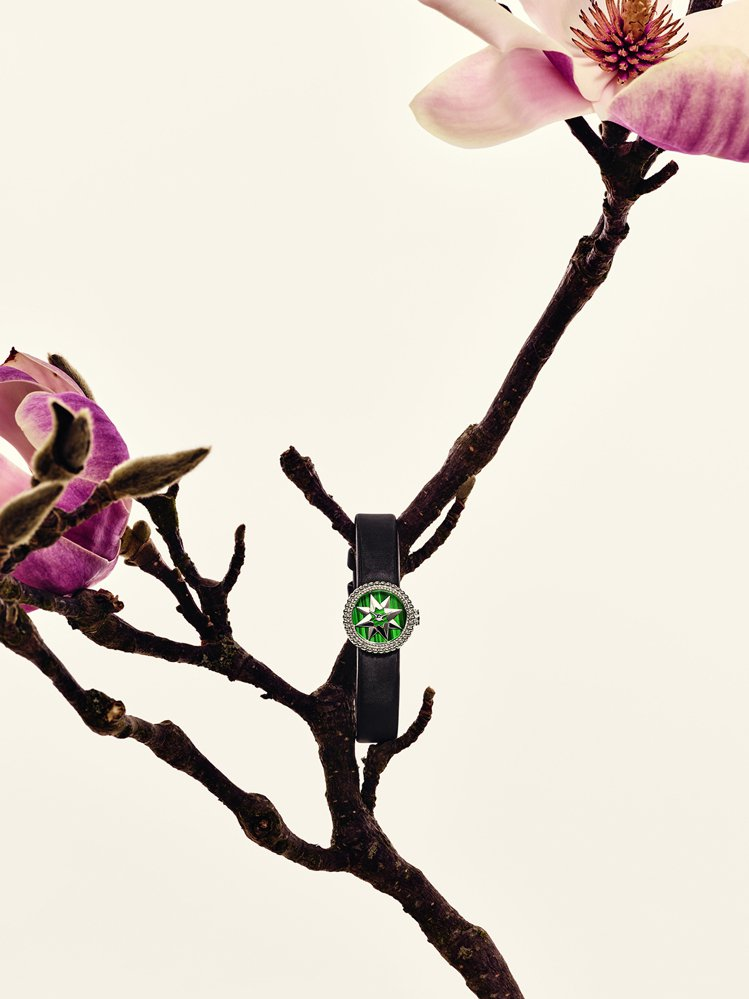 La Mini D de Dior Rose Des Vents綠色孔雀石錶面,...