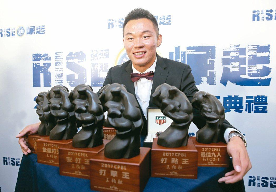 「台灣的大王」王柏融包辦中職7大獎項,包括年度MVP、打擊「四冠王」、最佳九人與...
