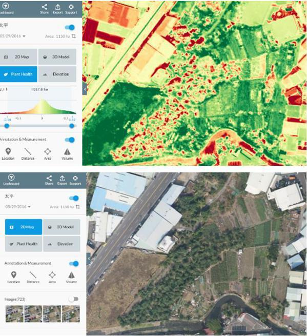 無人機飛行空拍拍的圖片,經過後端解讀能夠取得的資訊豐沛實用。 圖/報系資料照片